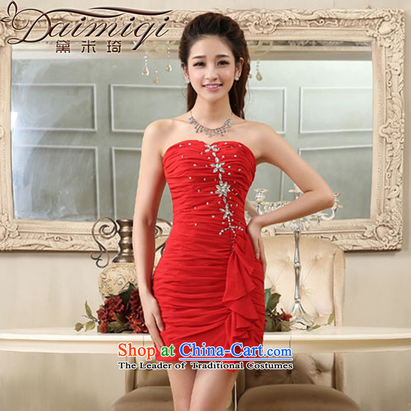 Wedding dress 2014 new anointed chest diamond small red dress short of evening dress suit skirt red?XXL Sau San