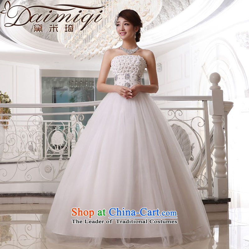Wedding dress 2014 new diamond texture to his chest and flowers marriage killed yarn with adjustable thin video   white wedding White M