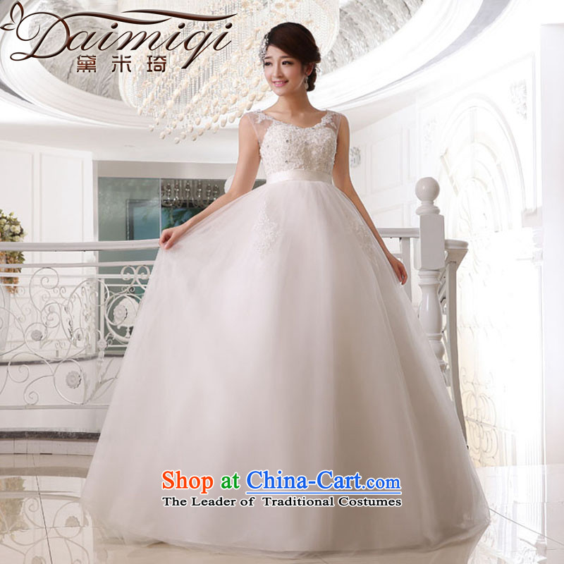 Doi m qi wedding dresses new shoulders to align the wedding-wire stitching stylish white wedding swing bon bon wedding anointed chest wedding White?M