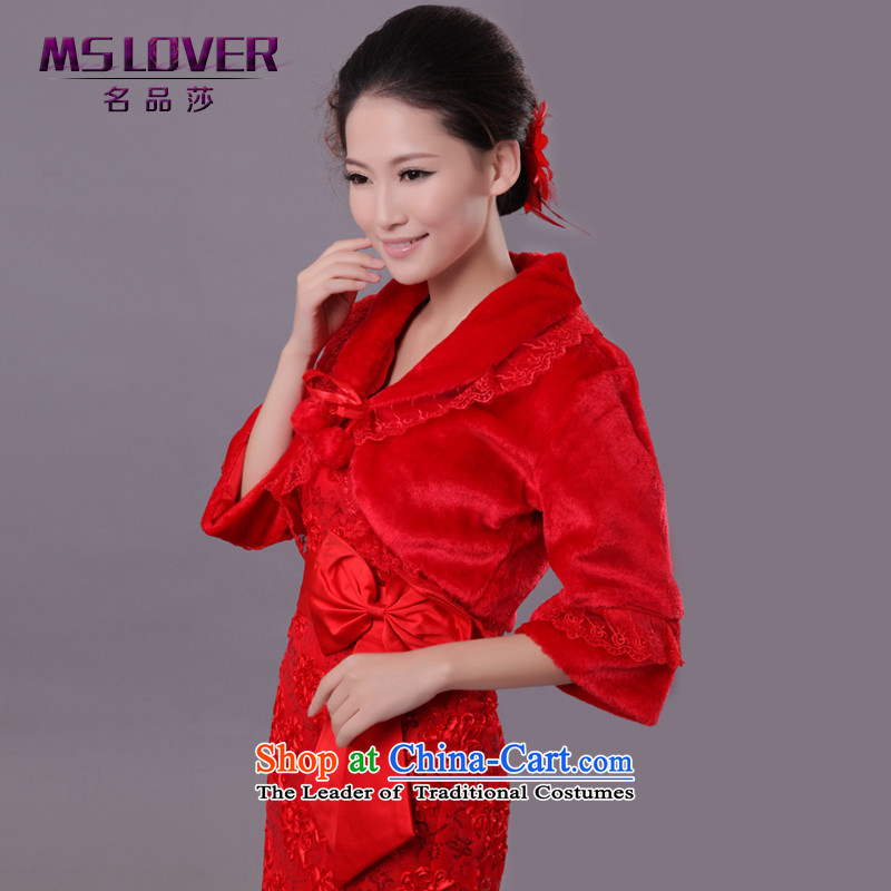 Mslover�wedding dresses warm up Korean velvet lace horn long-sleeved marriages gross shawl vest�FW121129�red
