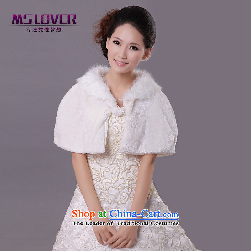 �Wedding dress in spring and autumn mslover warm winter partner velvet plush collar marriages gross shawl cloak�FW121138�m White