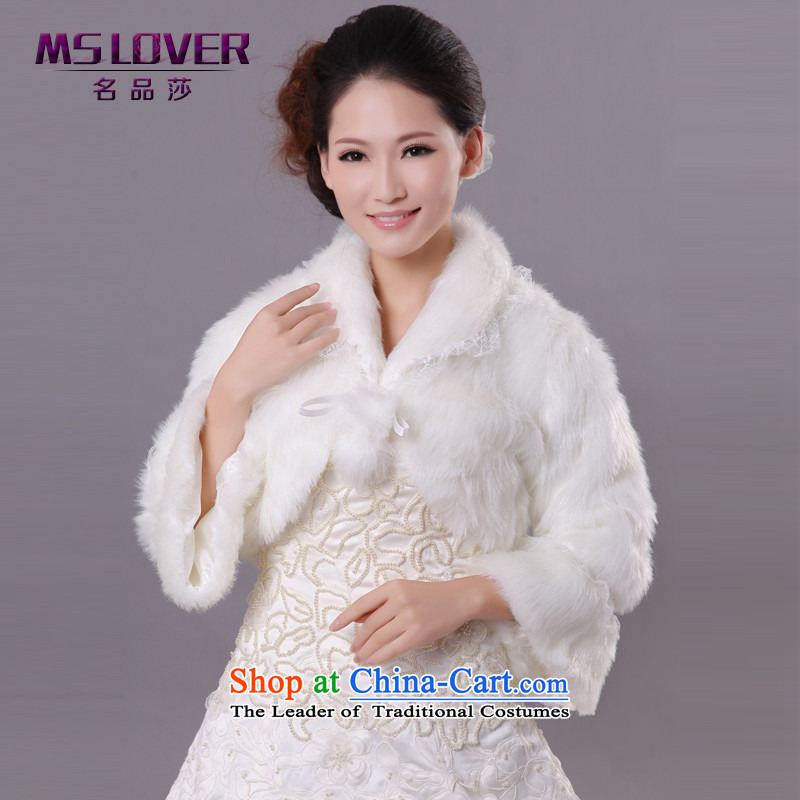 Mslover wedding warm up Korean thick terry horn cuff lace marriages shawl jacket FW121144 gross m White