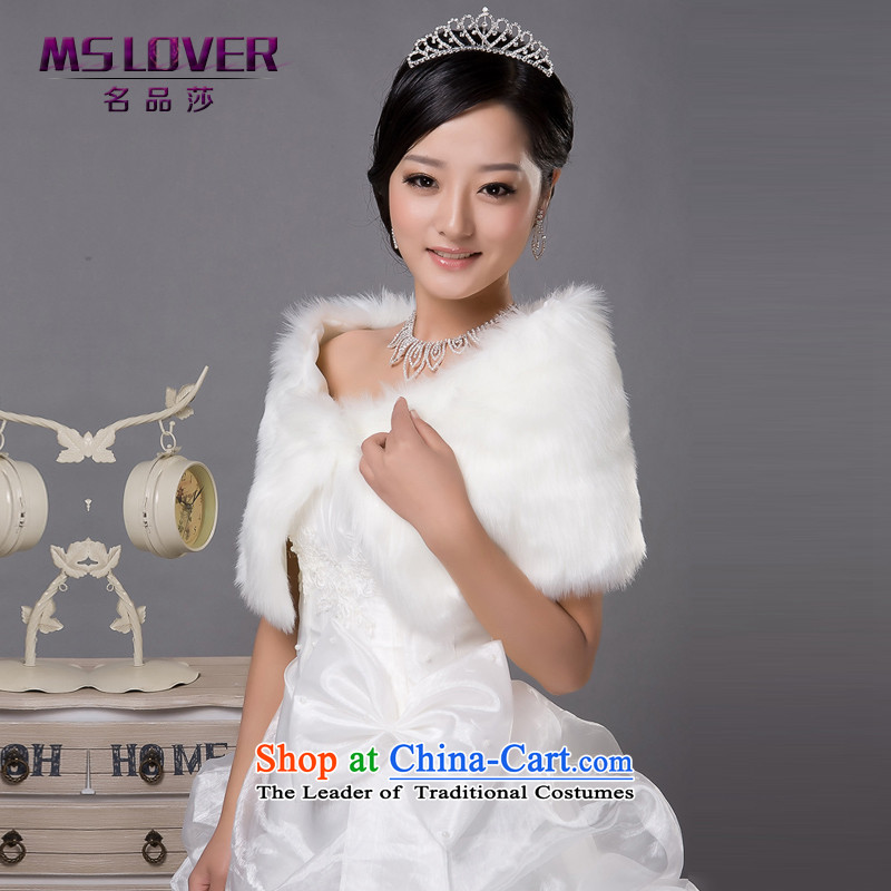 �Wedding dress in spring and autumn mslover warm winter partner plush drill clip marriages shawl�FW121141 gross�rice white