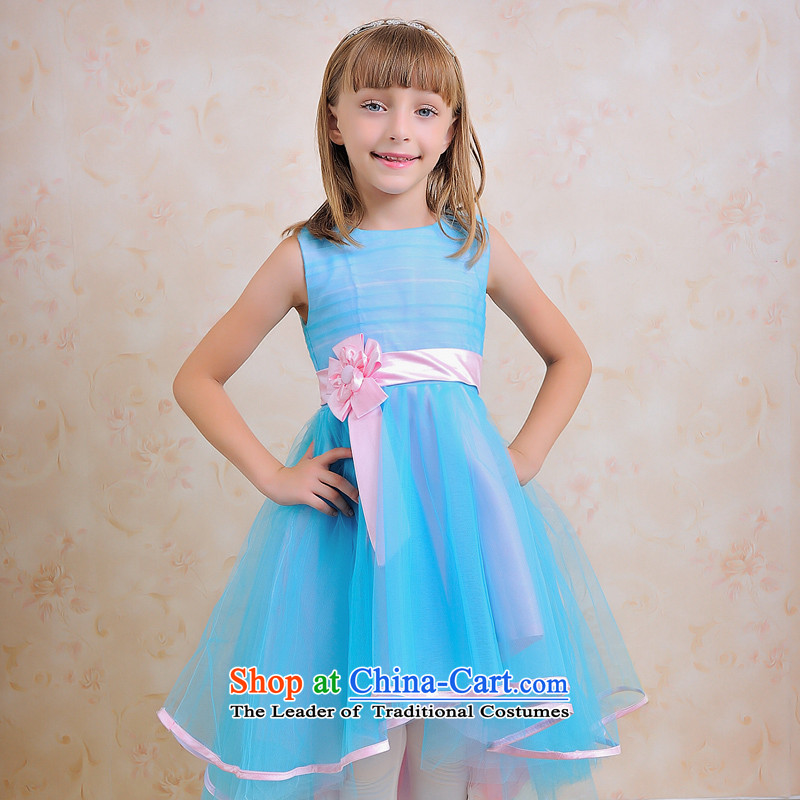 Shared guijin Keun-click outside the children's wear dresses children children will front stub long after the blue princess dance services�t62�Blue + Pink Waistband�4 yards from Suzhou Shipment