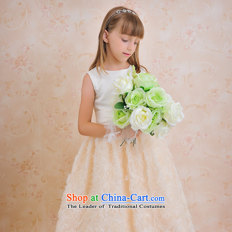 Click outside the shared Keun guijin children's wear dresses children will dance to Champagne Color Blossoms petticoats t63 White + champagne color?8 from Suzhou Shipment
