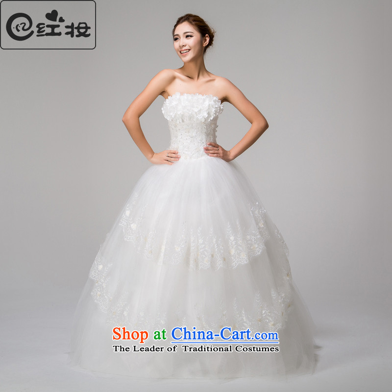Recalling that Colombia Summer Korean Red Princess Mary Magdalene Chest Flower wedding dresses new Korean style to align graphics thin straps Sau San bon bon skirt H13725 White XL