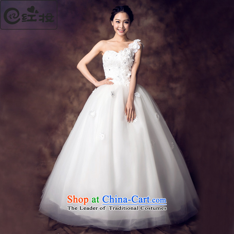Recalling that hates makeup and summer single shoulder Beveled Shoulder sweet to align the petals Korean style wedding dresses, chest and large numbers of pregnant women can penetrate H13702 White�XL