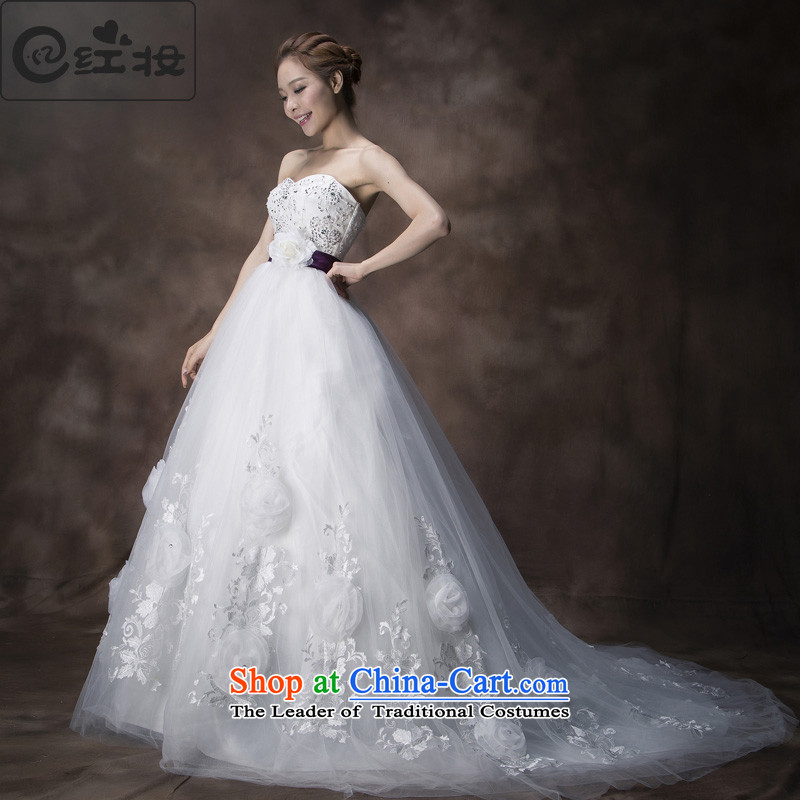 Recalling that hates makeup and the spring and summer months Korean-style Deluxe Big tail flowers wedding diamond anointed chest lace The Princess Bride wedding dresses 2015H13742 White?XL