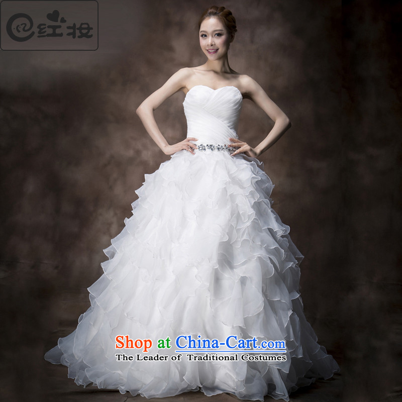 Recalling that the red Colombia Summer wedding dresses 2015 new Korean anointed chest diamond Princess Bride verawang retro small trailing H13738 White?XL