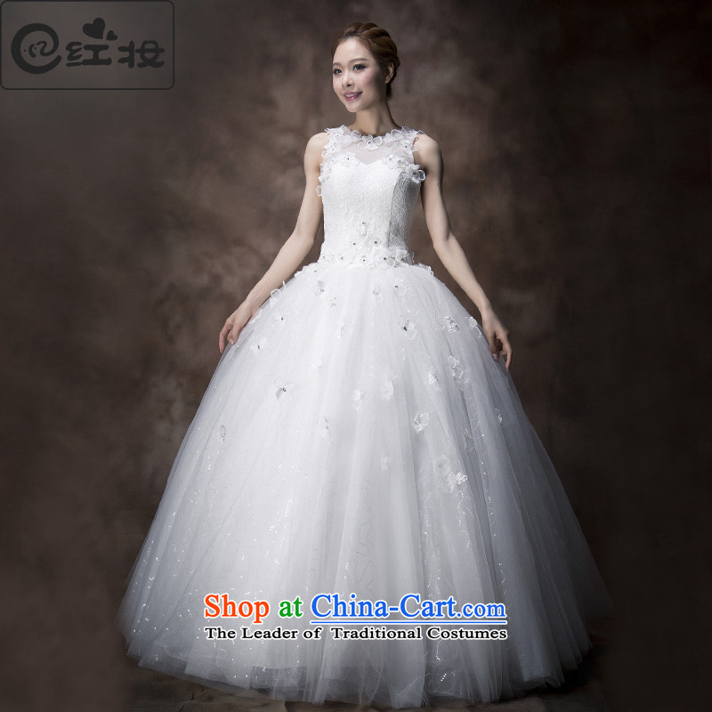 Recalling that the red spring and summer 2015, Colombia sleeveless shoulders wedding dresses marriages engraving lace princess wedding H13740 sweet White?XL