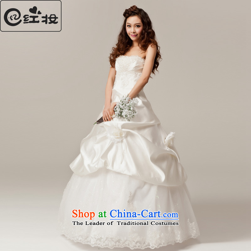 Recalling that hates makeup and spring and summer wedding dress the new Korean sweet Princess Mary Magdalene chest water drilling wedding bride to bind with H12031 align white聽S