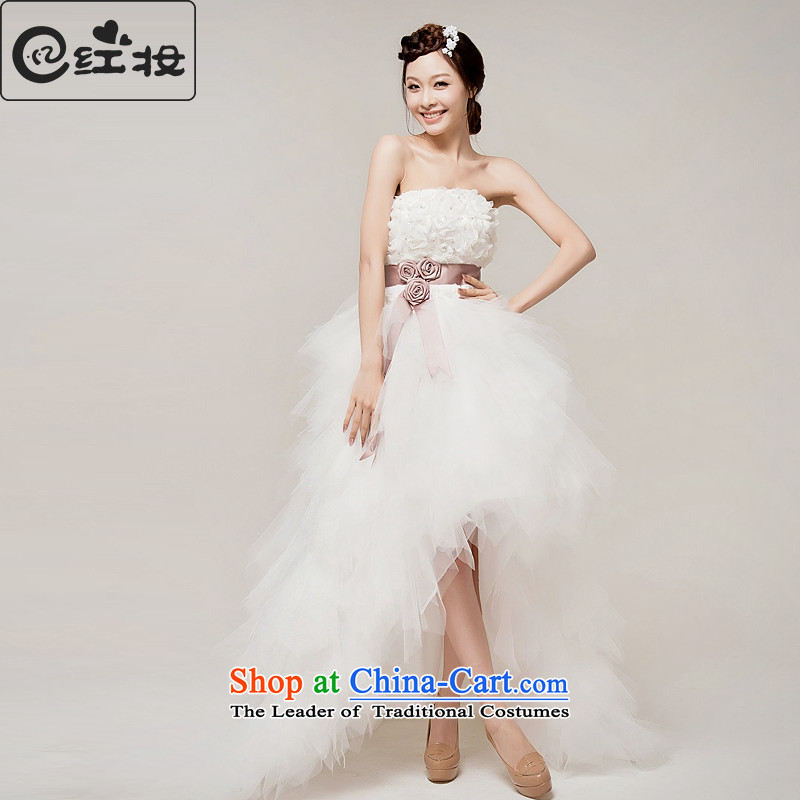Recalling that hates makeup and summer 2015 new Korean sweet princess straps front stub long after small trailing crowsfoot wedding dresses H12097 white�L