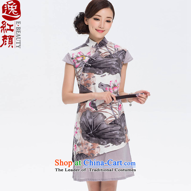 I should be grateful if you would have the archaeologist makes the Yat Yishi cotton linen dresses cotton linen new improved Stylish retro linen cheongsam dress suits long 2XL