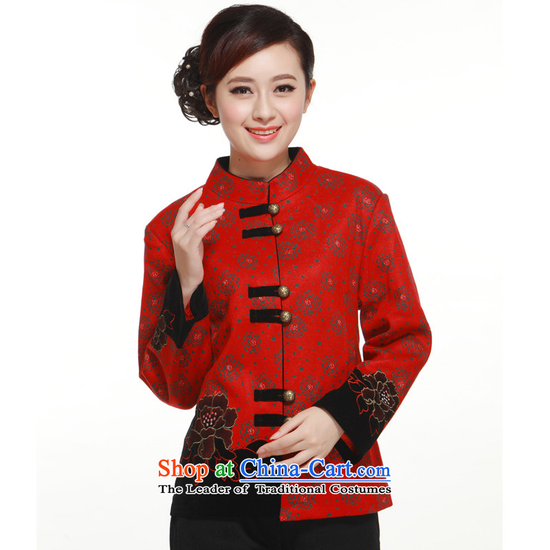 2013 Spring and Autumn stylish decorated Mudan Ms. Tang dynasty coin jacket coat in the former Yugoslavia will gross known QW320 RED XXXL Li