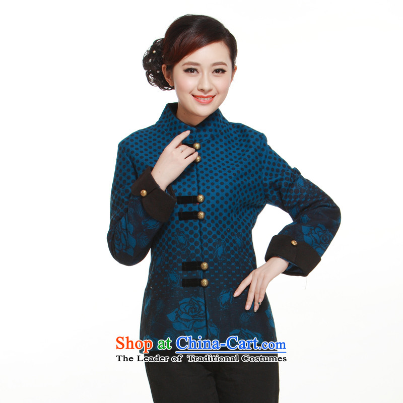 The new 2014 gross Ms. Tang dynasty jacket? t-shirt gross? collar elegance of the former Yugoslavia QW316 know Li blue?XXL