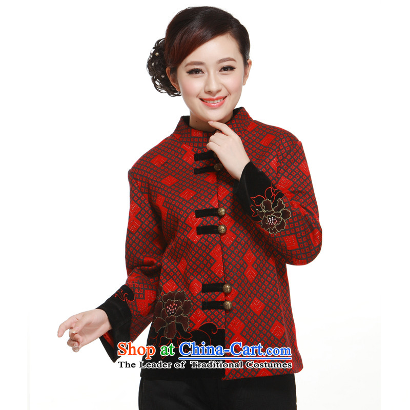 2014 new diamond pattern Tang blouses, improved gross jacket for the Former Yugoslavia is stylish and Li?QW322 know?wine red?XXL