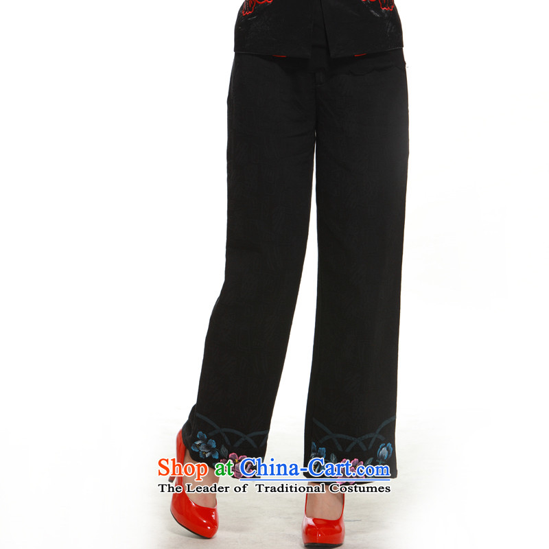 2014 New Tang pants, micro-thick ink stamp retro lotus improved Ms.?QM12091 pants Sau San??M-42 black