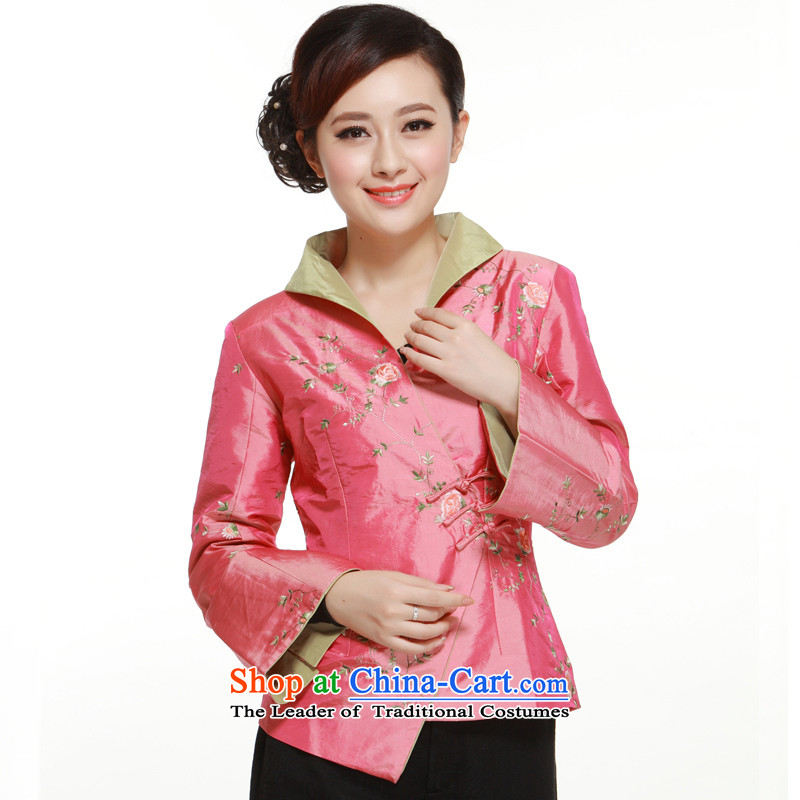 The former Yugoslavia Li aware of new products by 2015 3 Pink ramp up detained a mock-neck tie stylish shirt Ms. Tang dynasty improved small Li aware QN2961 pink XXL