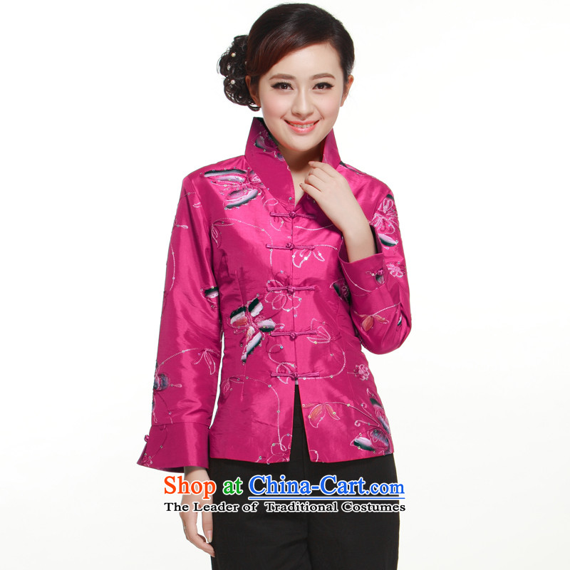 2015 Spring and Autumn New?2-color in hand-painted on-chip set manually butterfly collar Tang blouses slimming knowledge?QN2995 Li?purple?L