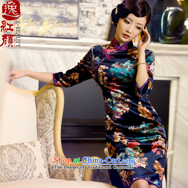 The elections as soon as possible the twin flowers Yat archaeologist makes?2015 the new boxed long-sleeved suede autumn cheongsam dress suit the new stylish retro autumn in cuff cheongsam dress blue?S
