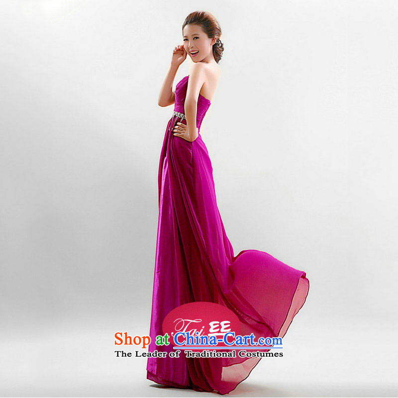 The population of Taiwan New 2013 Marriage bows services shoulder purple dress will the program host dress YSY1912 PURPLE�M