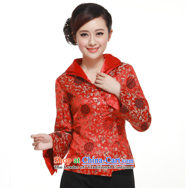 The former Yugoslavia (2015- upscale know Li brocade coverlets Ms. Tang dynasty during the Spring and Autumn Chinese long-sleeved blouses dress jacket Caesars Red L