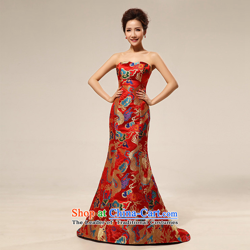 The population of Taiwan New 2013 wedding dress dragon robe dress show replace the bride long XS1926) Red?XL