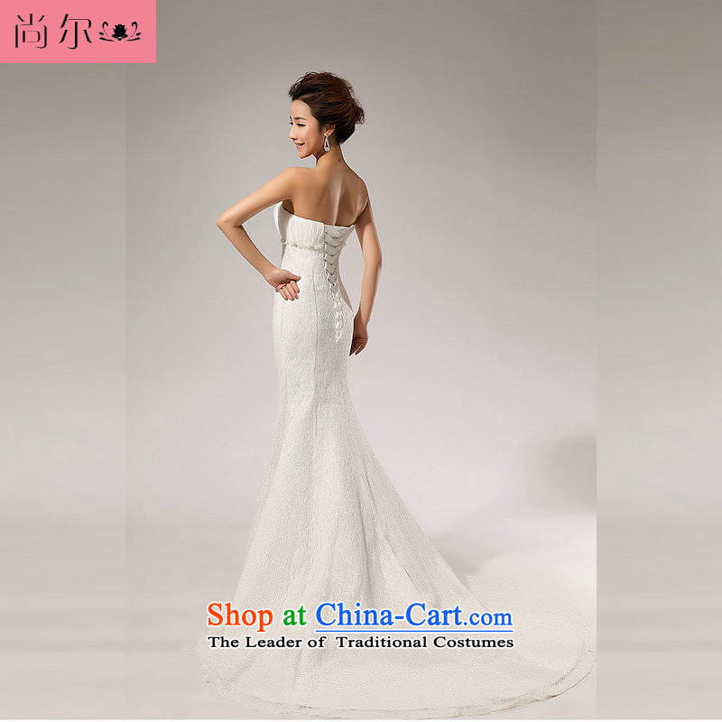 Taiwan's princess Korean style wedding dress lace anointed chest bride wedding dresses marriage bows service long skirt XS2055 White�XL