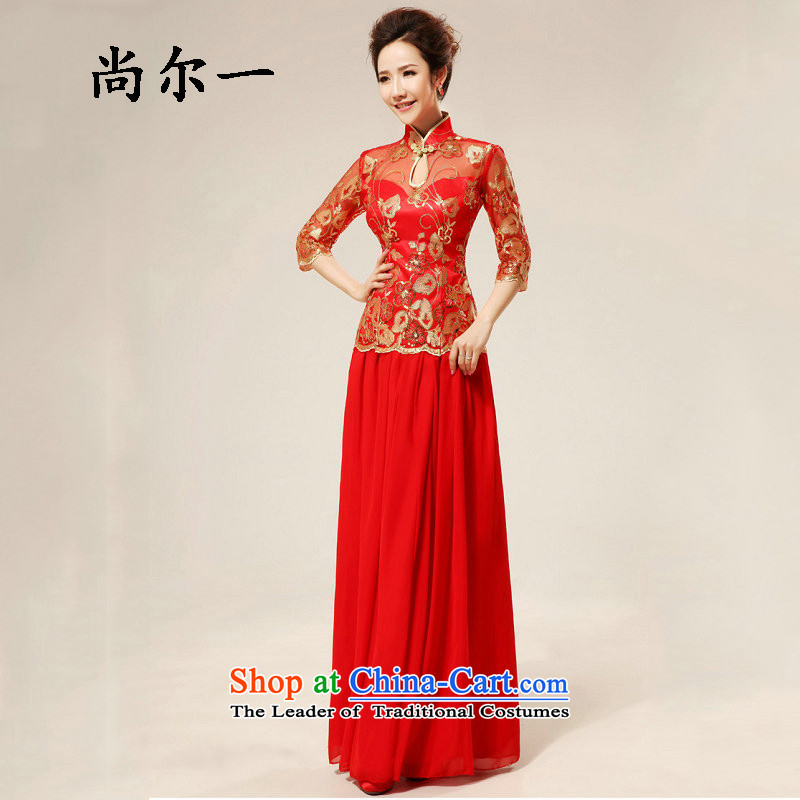 The population of Taiwan New red retro sexy lace qipao stylish improvement qipao bows qipao XS1980 sleeved red�XL