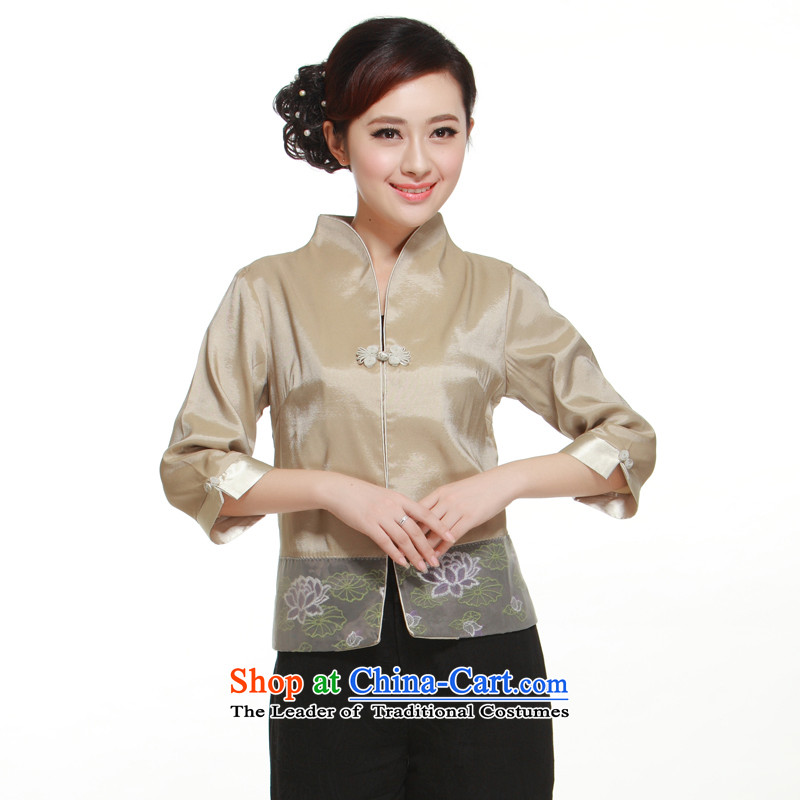 2015 new stylish improved a grain of deduction of Sau San Tong Ms. replacing T-shirt small dress jacket for the Former Yugoslavia informed?QN3161 Li?beige?L