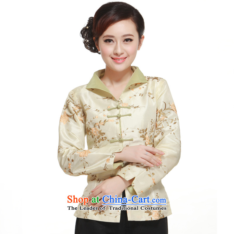 2014 new stylish improved embroidery Tang dynasty, Wang deduct 2 color T-shirt into a coat small Li aware?QN2952?beige?L