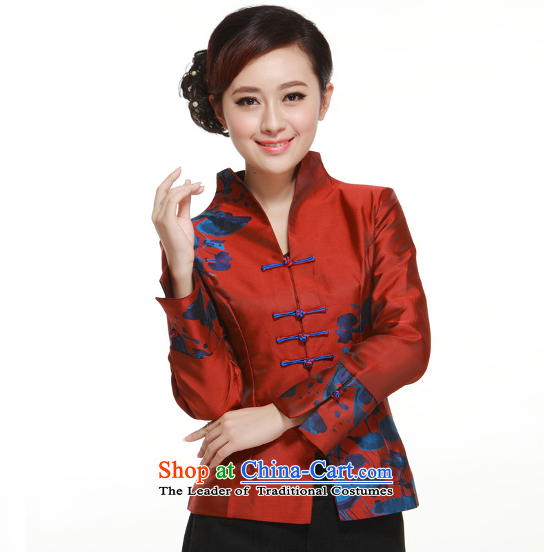 The new 2015 Ms. Tang blouses improved stylish cross detained a mock-neck positioning spend jacket for the Former Yugoslavia informed?QN29112 Li?wine red?XXL