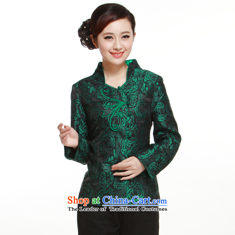 (li) spring and autumn 2015 Ms. Tang dynasty NEW SHIRT rose up charge-back jacket retro improved sleek QN29122 know Li green XXL
