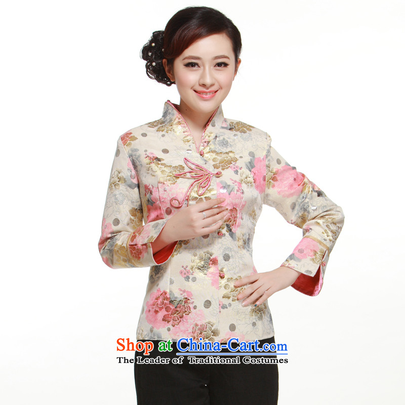 2014 New?2-color into the buckle collar retro improved stylish shirt Yugoslavia Kim thread stamp Li know?QN30121??XXXL Pink