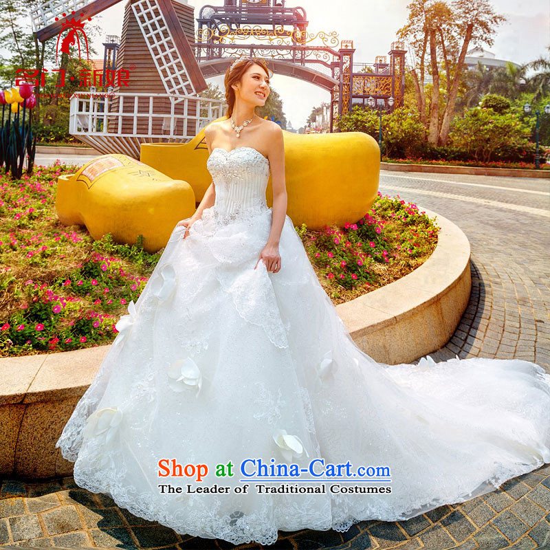 A bride wedding dresses new Korean Princess Deluxe wiping the chest long tail wedding A997 White M