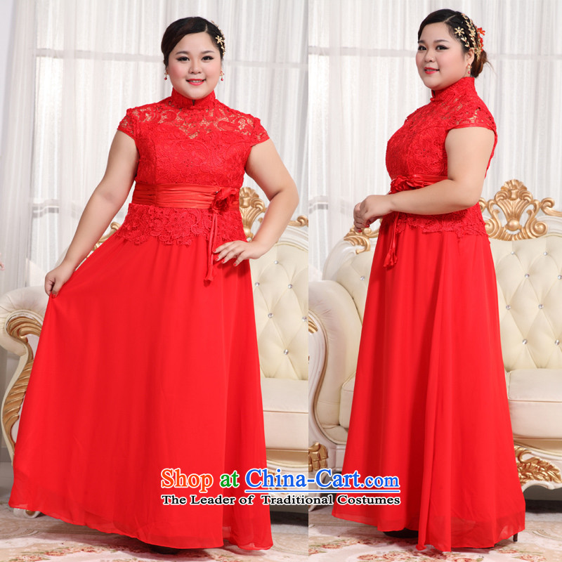 Large guijin Keun-shared wedding dress thick mm thin large qipao graphics long large bows?BHS16 serving?large red?XXXL scheduled 3 days from Suzhou Shipment