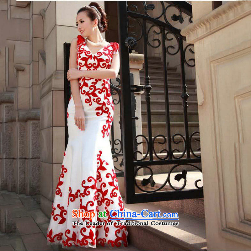 Taiwan New luxurious silk 2014 red and white crowsfoot long evening dresses bows services wedding dresses FW1967 performance white?S