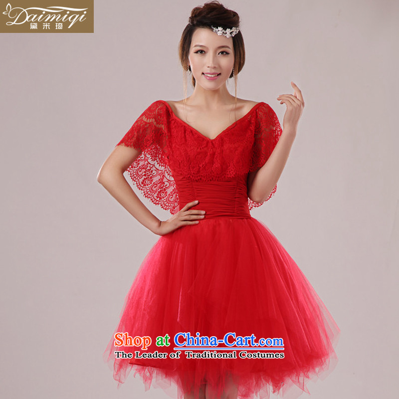 2014 new dress short skirt bride bridesmaid services serving the princess cuff bows wedding dresses won short skirts small version shoulders lace straps bon bon skirt red?S