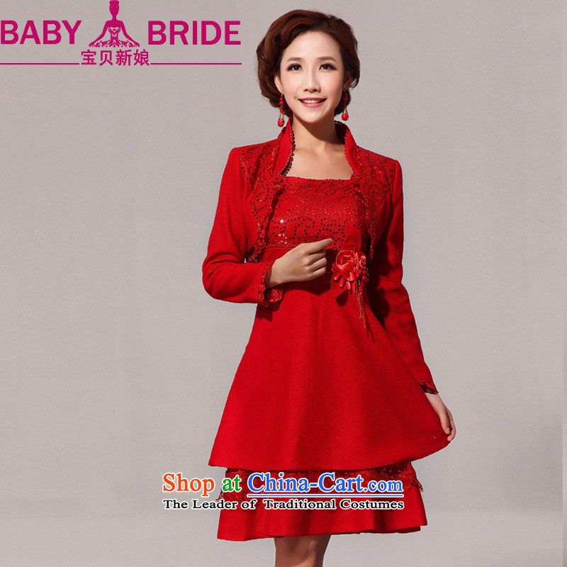 Baby bride bows services improved short summer bride fashion, bows to the autumn and winter cheongsam dress qipao bride 59 Red 2 feet 2 waist