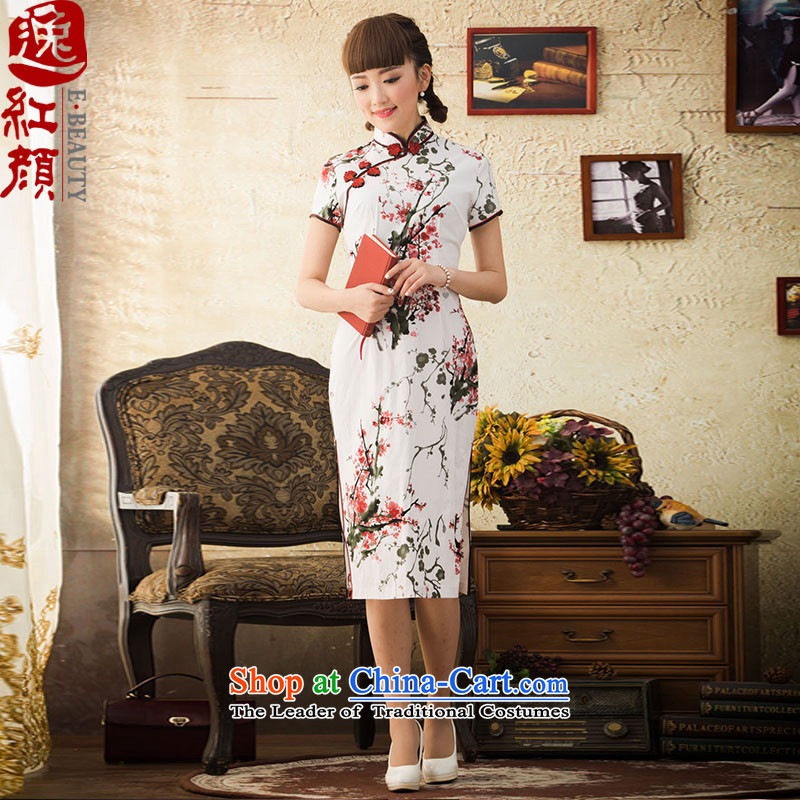 【 Yat lady health immersed Maehyang-new improved retro autumn long cheongsam dress suits qipao stylish XL