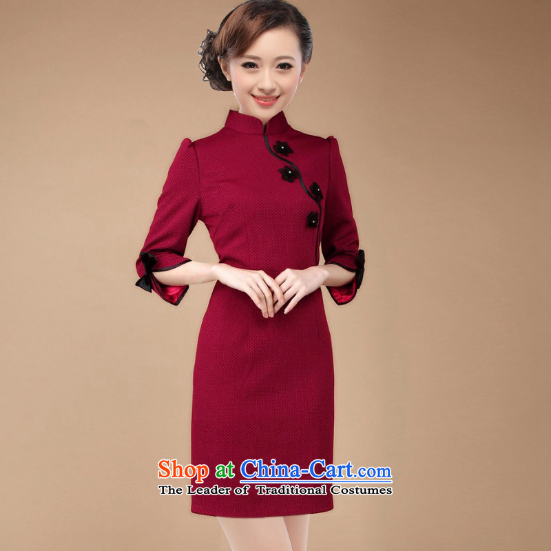 The former Yugoslavia Li known spring 2015 NEW OL commuter retro elegant qipao 7 Cuff D82 dresses with large code QW003R wine red XXL