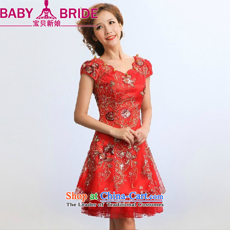 2013 new bride treasure qipao improved stylish summer will show services marriages red bows to red waist size 2