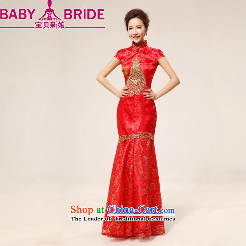 Baby bride China wind red long sexy lace marriages wedding dresses qipao bows will serve a foot 9 red waist