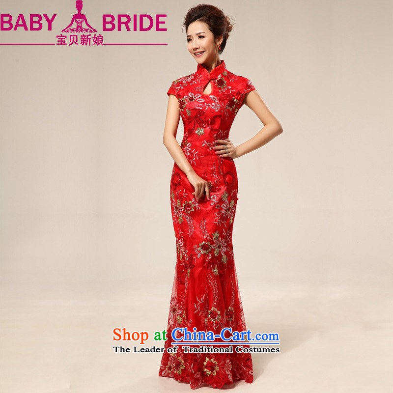 2014 new bride treasure Red China wind long sweet lace flowers on chip marriages cheongsam Red 2 feet 4 waist