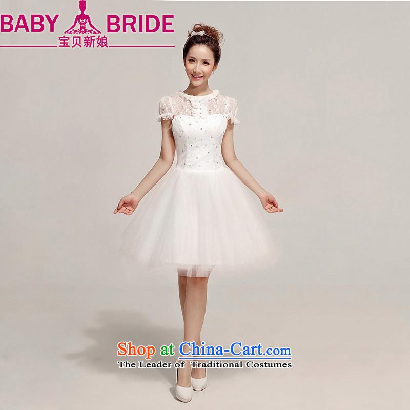 Baby bride wedding dress red lace short_ bows services bridesmaid wedding dinner dress White 2 feet a waist