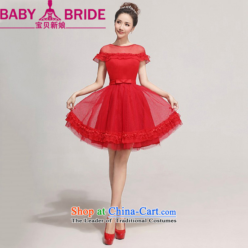 2014 new bride treasure bride bridesmaid small dress sweet fairy tale wedding gown, Short Princess short of evening red waist a foot 9