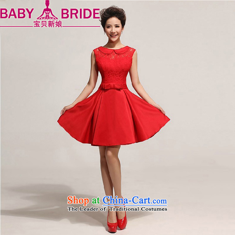 Baby bride wedding dresses new 2014 short skirt) Western big bride wedding dress skirt red waist size 2