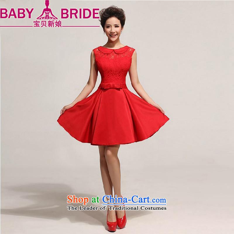 Baby bride wedding dresses new 2014 short skirt_ Western big bride wedding dress skirt red waist size 2