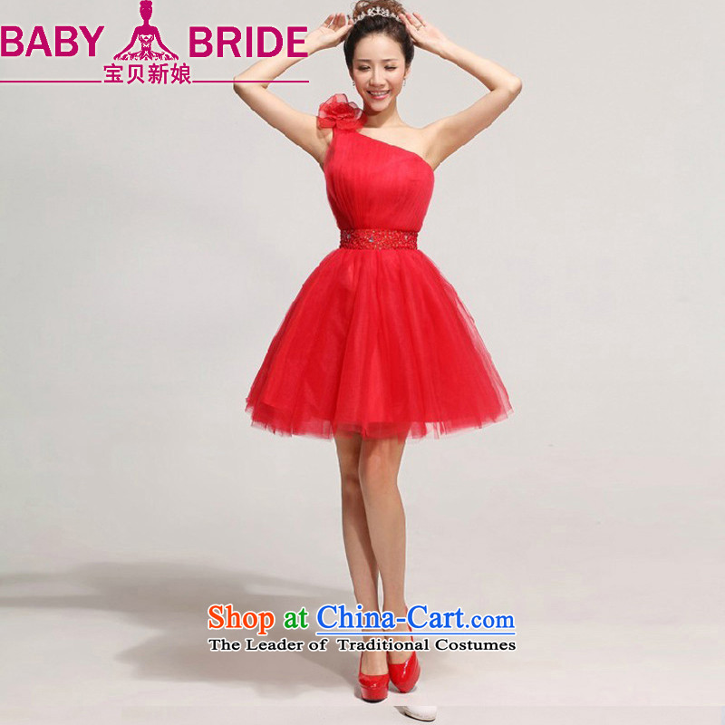 2014 new bride treasure bride bows services Beveled Shoulder short_ bridesmaid skirt Korean shoulder flowers wedding dresses red waist a foot 9