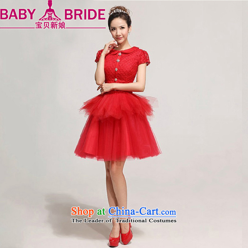 Baby bride bride wedding dress red lace short_ bows services bridesmaid wedding dinner dress red XXL